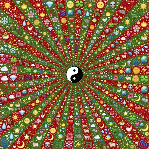 yin yang rays radiating