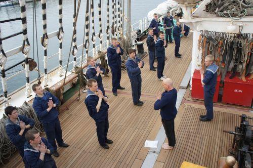 yoga sailors training ship