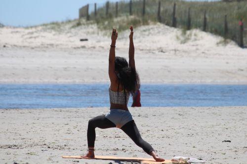 yoga woman beach