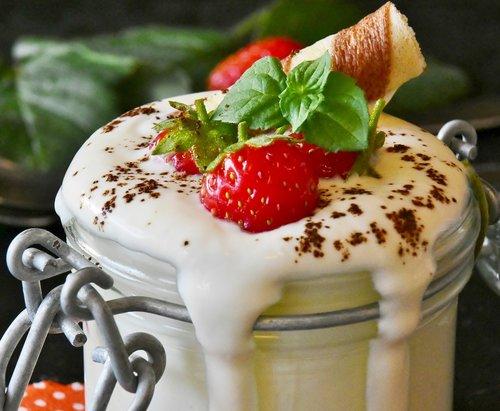 yogurt  strawberries  milk product