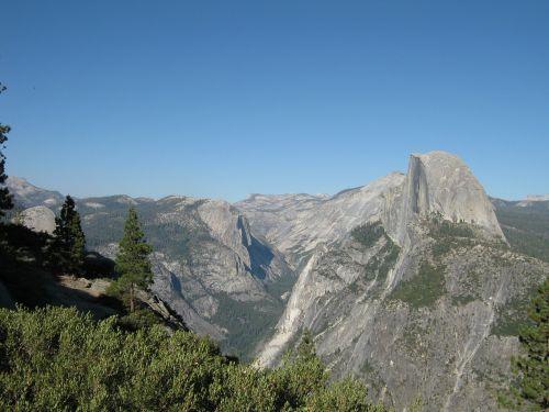 josemito nacionalinis parkas,josemitas,kalnai,gamta,lauke,puse kupolas,slėnis,vaizdas,kraštovaizdis,mėlynas dangus,dangus,švarus dangus,Kalifornija