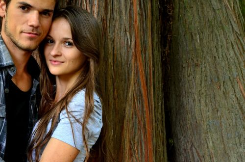 young couple fall in love with background