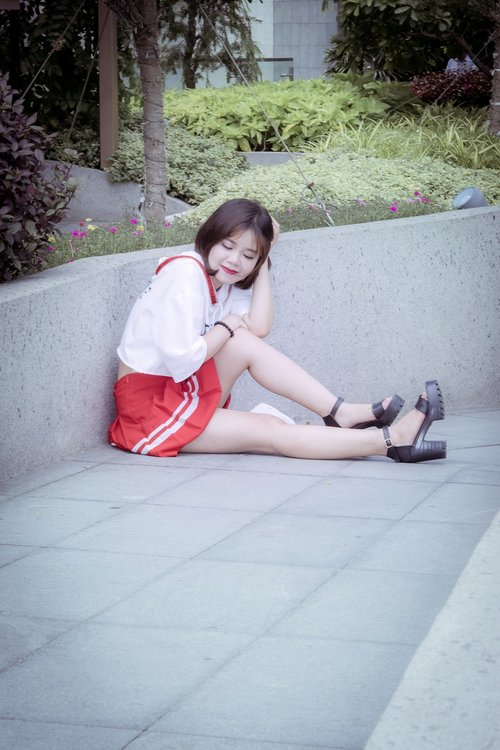 young girl  red skirt  sport