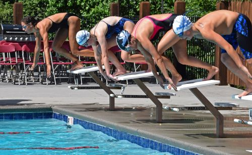 young swimmers beginning race swim meet