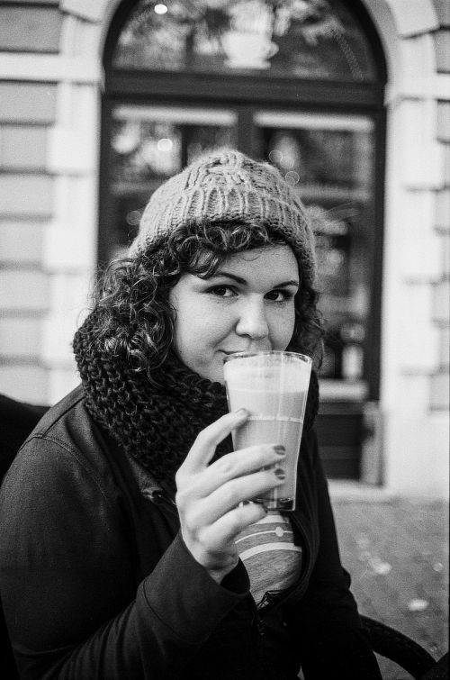 young woman coffee latte
