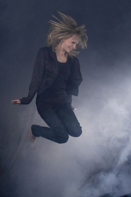 young woman jump blonde