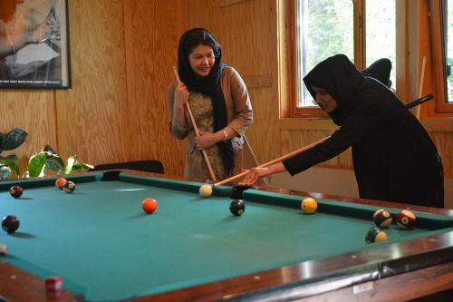 youth centre girl billiards