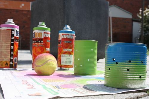 youth work spray can tennis ball