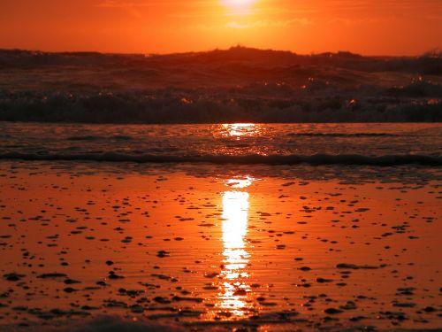 zandvoort,Nyderlandai,holland,noord holland,kranto,ežeras,saulėlydis,vanduo,jūra,banga,šventė,papludimys,naršyti,oranžinė