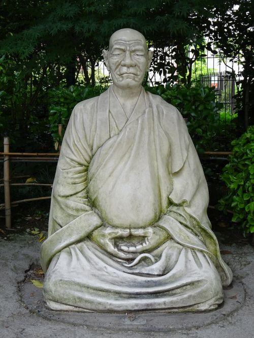 zen monk statue