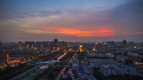 zhengzhou lights sunset