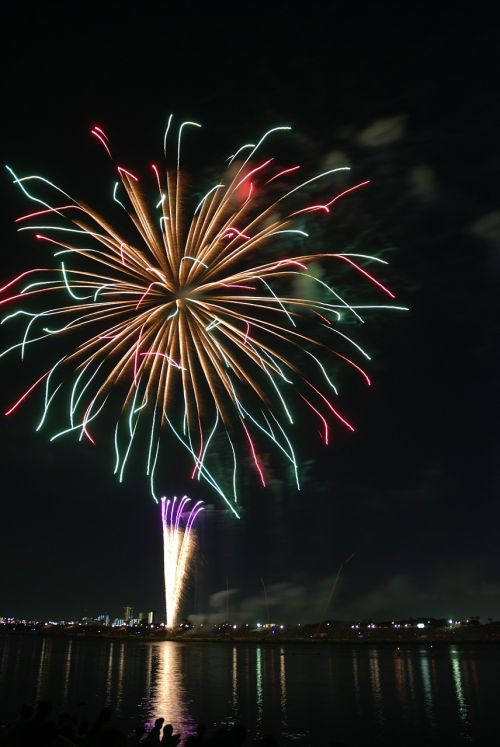 zigzag colorful fireworks