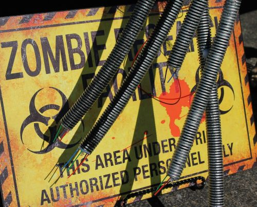 zombie research facility zombie research warning sign