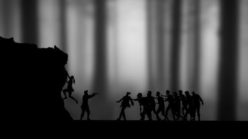 zombies silhouette girl