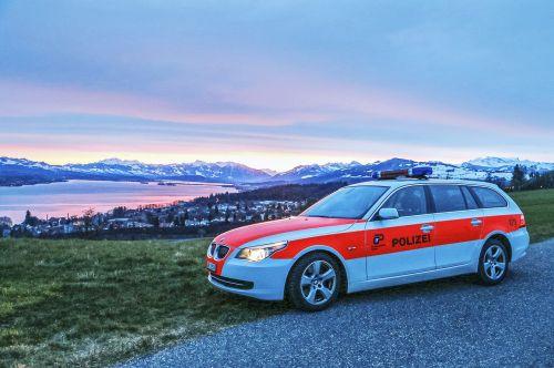 Zuricho kantono policija, policijos automobilis, Zurich, Šveicarija, policija, be honoraro mokesčio