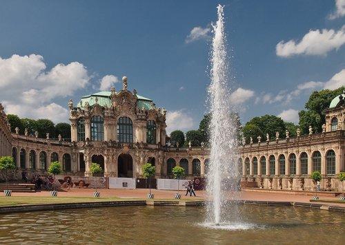 zwinger  baroque building  fountain